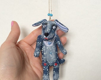 """Textile Funny Necklace """"Dream Dog"""" soft toy dog with moving eyes"""