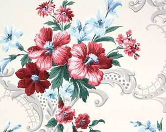 1940s Vintage Wallpaper by the Yard - Floral Vintage Wallpaper Pink and Blue Flowers on White