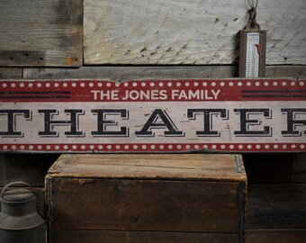 Theater Wood Sign, Home Theater Decor, Movie Lover Sign, Movie Room Decor,