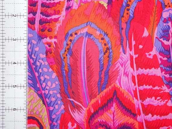 FEATHERS Red PJ55  by Philip Jacobs for Kaffe Fassett Collectives quilting fabric sold in 1/2 yd increments