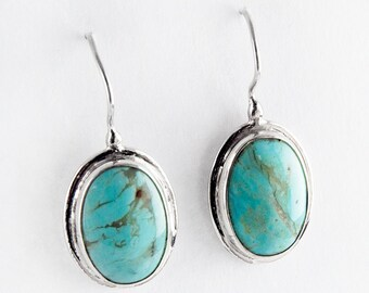 Turquoise Bezel Sterling Silver Earrings