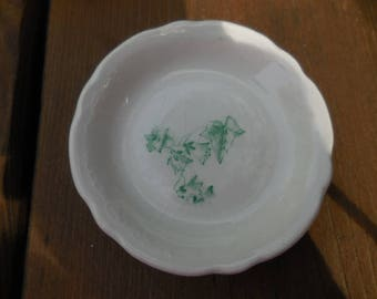 Antique/Vintage White and Green Ivy and Flowers Butter Pat Dish Dinnerware Collectible Slightly Scalloped Edges