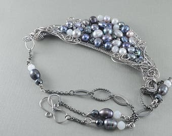 Wire woven freshwater pearl bib statement necklace
