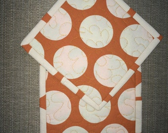 Quilted Pot holders , Potholders,pot holders, Fabric Pot holders, Contemporary Potholders ,7 x 7 inch,orange