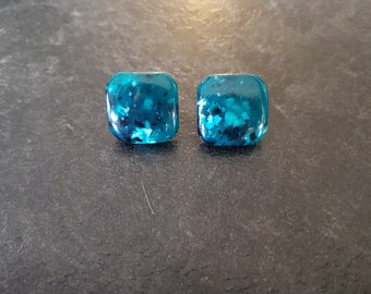 Vintage/Retro/Earrings/Blue/Square/Teal/Plastic/80s/Textured/Jewelry/Jewellery/Womens/Accessories/Studs/PushBack/Lovely/Bright/Colourful