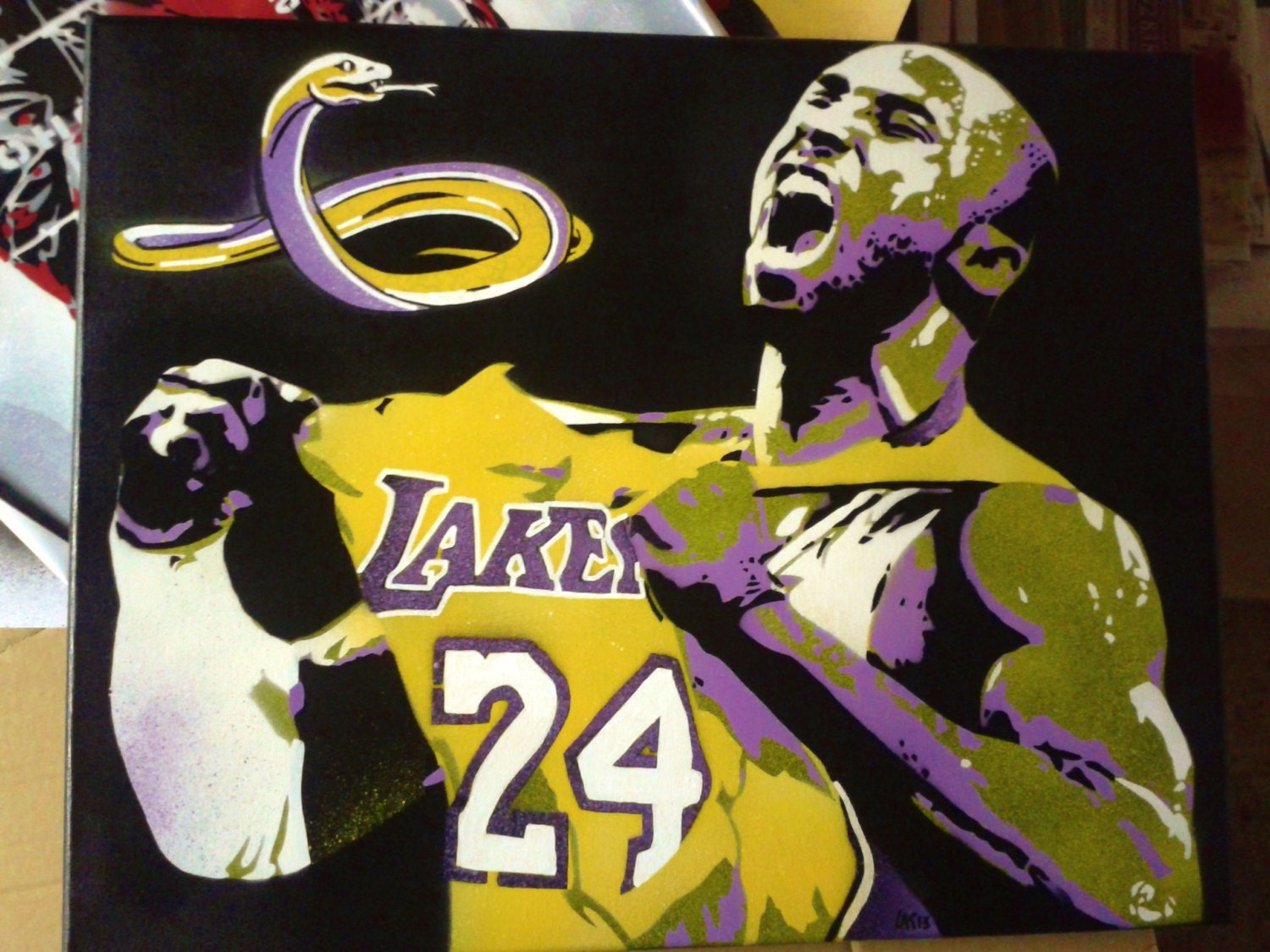 Kobe Bryant stencil art painting on canvas black mamba