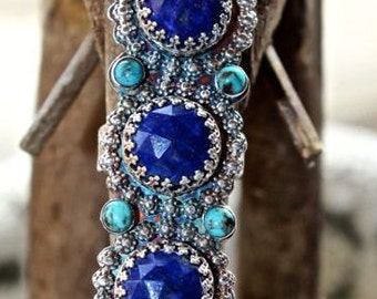 Faceted Lapis and Turquoise Finger Armor Ring