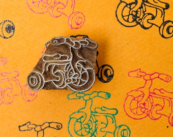 tricycle, hand crafted wood stamp