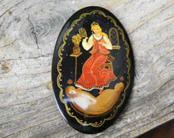 Vintage Hand Painted Russian Lacquer Pin Brooch - Signed