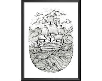 A4 print Boat in curly waves
