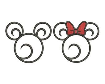Swirl Swirly Scroll Disney Minnie Mickey Mouse Head Ears Applique Design Embroidery Fill Machine Instant Download Digital File EN4042E1E6
