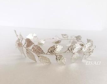 LISALI Silver Leaf Hair vine Comb Wedding Hair Comb vine, Hair Chain Bridal hair veil comb 1920s jewellery headpiece