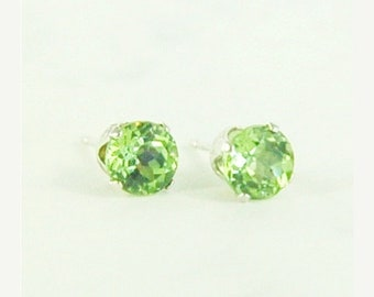 MothersDaySale Peridot Earrings Studs Sterling Silver 5mm Round 1.10ctw Natural Untreated