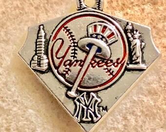 New York Yankee Triangle Baseball Charm