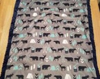 Woodland Camping Minky Blanket- Navy