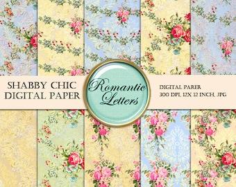 Floral Digital Scrapbook Paper Pack Floral Shabby Chic ROSE flower digital background paper floral Shabby Chic digital paper pack background