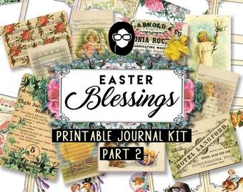 Junk Journal kit - Easter Blessings P2 - 12 Journal Refill Pg, printable diary pack, floral digital paper, scripture art, printable verse