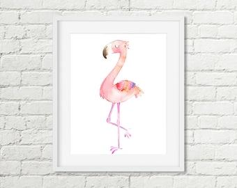 Pink Flamingo Print Flamingo Printable Wall Art, Girls Watercolor Tropical Room Decor 5x7 8x10 Kids Bathroom Art Instant Digital Download