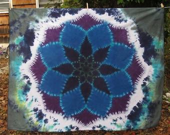 "Tie Dye Mandala on cotton 70"" x 56"" twilightdance"