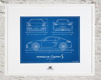 Blueprint decor etsy porsche cayman s blueprint car decor wall art malvernweather Image collections