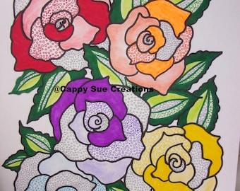 Surreal Rainbow of roses illustration