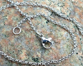 Stainless Steel Rolo Chain 2mm, Finished Necklace Chain, 18 inches, can be shortened