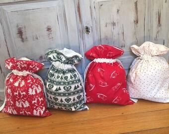 Christmas In July, Small Adult Santa Sack, 35cm x 25cm  Lined, Gift Bag, With Name Tag, Christmas, Genuine Quality Hand Made, Eco Bag