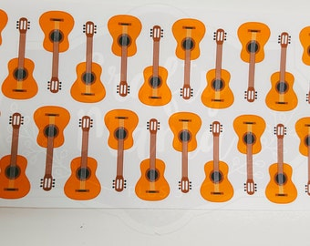 Guitar Stickers! 24 stickers! Great for Erin Condren, FiloFax, Kikki.K, or Plum Paper Planners (049)