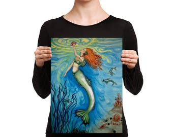 Treasures of the Sea Swimming Mermaid Original Art Print on Canvas