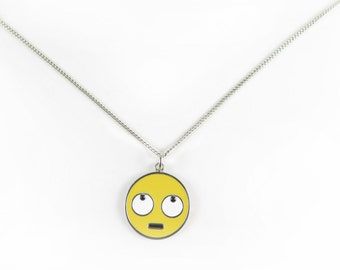 Rolling Eye Face Emote Charm Necklace