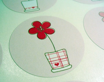 Stickers Envelope Seals Planning Stickers Flower Pink SES3