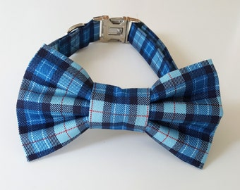 Blue Plaid Check Dog Collar and Bowtie Set