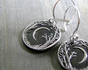 Forest Moon Earrings, Fine and Sterling Silver, Handmade in Recycled Silver From Original Carving, by SilverWishes