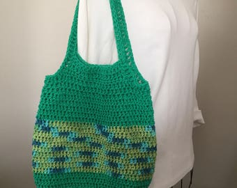 Striped Market Bag/ Crocheted Market Bag/ Bright Green Hobo Bag