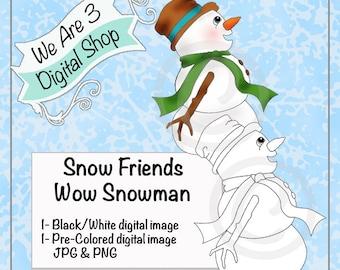 We Are 3 Digital Shop, Wow Snowman, Digital Stamp, Winter, Christmas