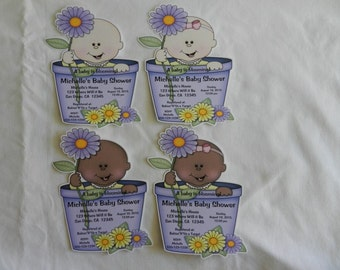 Unique Personalized Baby Shower A Baby is Blooming Invitations with Envelopes