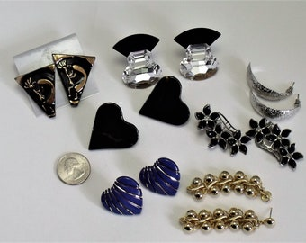 Lot of 7 Pair 80's Vintage Fashion Earrings Hearts Dangles Flowers Climbers Crystal  186