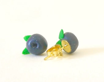 Stud Earrings - Blueberry polymerclay