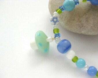 Girls Bracelet with mushroom pendant, Blue, Green and Whilte, Medium, GB 160
