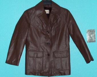 "Vintage 1970s ""Fingerhut"" Men's Chocolate-Brown Vinyl Vegan Jacket Size Medium"