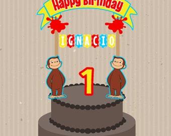 Curious George Cake Topper, Custom Cake Topper, Printable Cake Topper, Curious George Topper, Curious George Birthday, Curious George Party