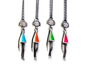 silver articulated doll pendants, cute colourful ladies
