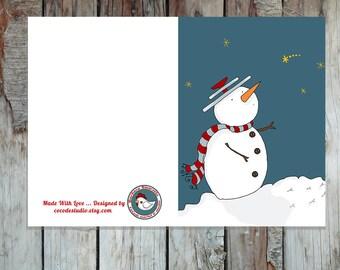 Biglietto di auguri stampabile con Puppazzo di Neve con un buffo cappello - DOWNLOAD ISTANTANEO-A6