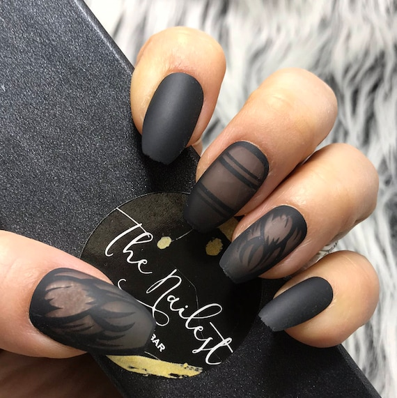 READY TO SHIP | Crow | Black Clear Matte Finished Press on Nails ...