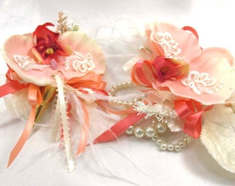 Coral, Peach and Ivory Pearl Beaded Orchid Wrist Corsage and Boutonniere Prom Set