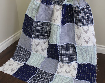 Rustic Baby Quilt, Baby Rag Quilt, Arrow Quilt, Baby Boy, Rustic Quilt, Navy Grey Mint, Deer Quilt, Rustic Nursery, Decor, Ready To Ship