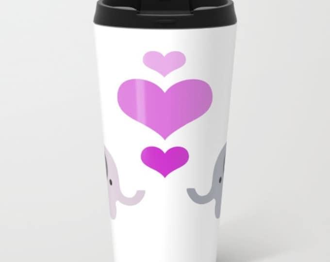 Elephant Travel Mug Metal - Coffee Travel Mug -  Elephant Kisses - Hearts - Hot or Cold - 15oz Mug - Stainless Steel - Made to Order