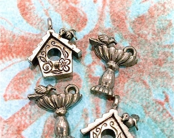 Bird Bath and Bird House- 4 pieces-(Antique Pewter Silver Finish)