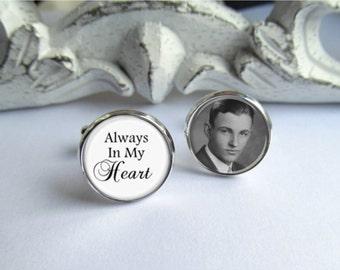 Memorial Cufflinks, Always In My Heart, Custom Photo Cufflinks, Groom Cufflinks