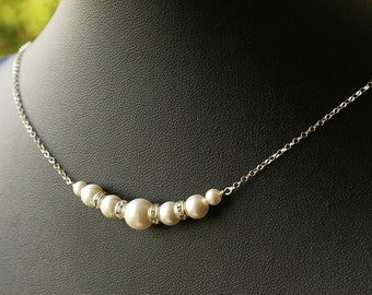 Simple Bridal Necklace, Pearl Wedding Necklace, Sterling Silver Swarovski Pearl Necklace, Bridal Party Jewelry, Bridesmaids Necklace, GRACE